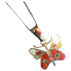 Sterling Silver Butterfly Pendant with Inlaid Stones
