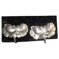 Vintage Sterling Georg Jensen Leaf Earrings
