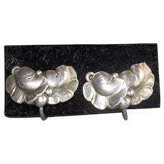 Vintage Sterling Georg Jensen Leaf Earrings