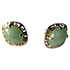 14K Jade Post Earrings
