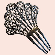 Fancy Black Celluloid Ladies' Hair Comb with Black Stones