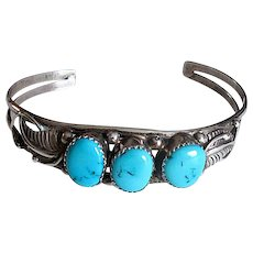 Native American Navaho Silver Cuff Bracelet with Turquoise Stones
