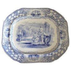 Antique English Blue & White Transfer-Ware Platter