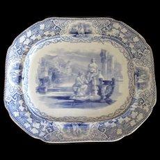 Antique English Blue & White Transfer-Ware Platter