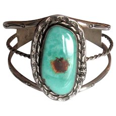 Native American Navaho Coin Silver Cuff Bracelet with Turquoise Stone