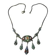 Mosaic Millefiori Costume Pendant Necklace