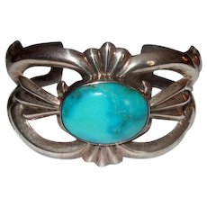 Native American Navaho Silver Sand-Cast Cuff Bracelet with Turquoise Stone