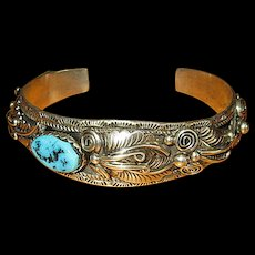 Sterling Silver Native American Navaho Cuff with Turquoise Stone