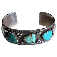 Native American Silver Cuff Bracelet with Three Turquoise Stones