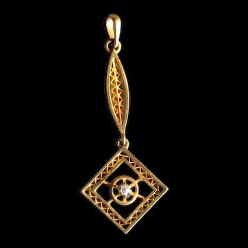 14K Gold Art Deco Lavalier with Diamond