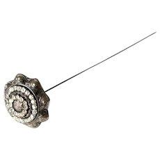 Antique Ladies' White Metal Hat-Pin with Rhinestones
