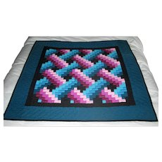 Modernist Geometric Amish Crib Quilt Or Wall Hanging