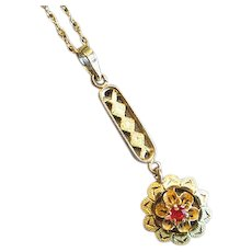Vintage 10K Gold Lavalier Necklace with Ruby