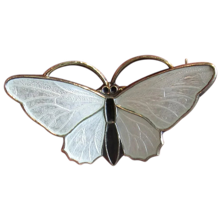 White and Black Enamel Butterfly