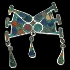 Vintage Mexican Silver Pin with Multi-Colored Inlay Work