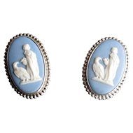 Sterling Silver Blue Wedgwood Cameo Clip Earrings