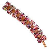 Vintage Copper Enamel Unmarked Matisse Expressionist Link Bracelet