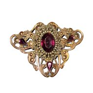 Vintage Stamped Brass Sash or Cloak Pin with Purple Glass Stones