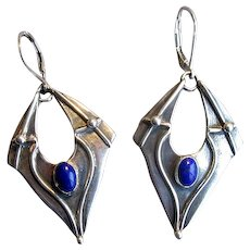 Sterling Silver Drop Earrings with Lapis Lazuli Stones