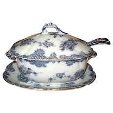 "Small Flow Blue ""Montague"" Tureen with Underliner and Ladle"