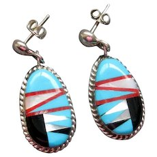 Native American Drop Earrings with Channel Inlay
