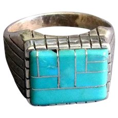 Ray Jack Navaho Sterling & Turquoise Inlay Ring