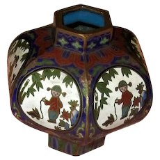 Vintage Chinese Cloisonne Ink Pot