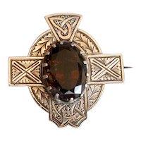 Antique Celtic Silver Pin with Dark Topaz-Colored Stone