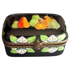 Hand-Painted Limoges Ceramic Box with Fruit