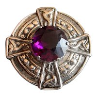 Antique Silver Celtic Pin with Faux Amethyst
