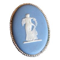 Sterling Silver & Blue Wedgwood Cameo Pin