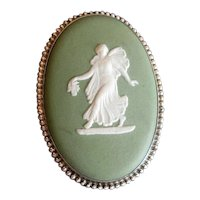 Sterling Silver Green Wedgwood Cameo Brooch