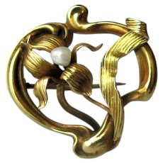 Gold Art Nouveau Fob Pin with Baroque Pearl
