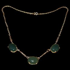 Sterling Silver Choker Necklace with Marcasites and Green Onyx