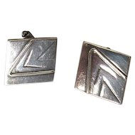 Sterling Silver Cuff Links with Modernist Design