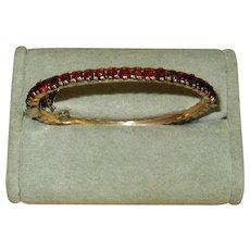 Victorian Gold-Filled Bangle Bracelet with Rose-Cut Garnets