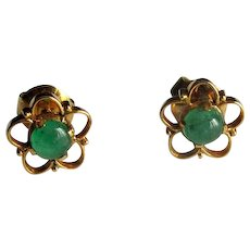 14K Gold Post Earrings with Cabochon Emeralds