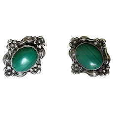 Carol Felley Sterling Silver & Malachite Post Earrings