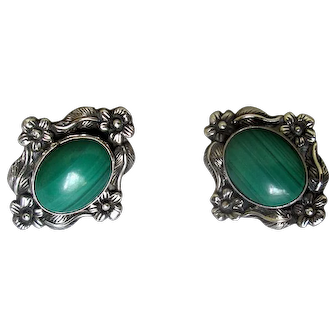 Carol Felley Sterling Silver & Malachite Post Earrings