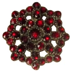 Vintage Gold-Filled Brooch with Rose-Cut Garnets