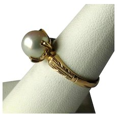 "18K Gold Ladies' Ring with 5/16"" Diameter Cultured Pearl"