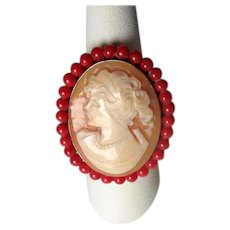 Sterling Cameo Cocktail Ring with Red Coral Beads