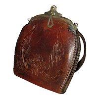 Vintage Tooled Leather Handbag with Art Nouveau Pansy Design