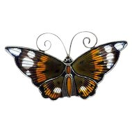 Norway Sterling & Multicolored Enamel D-A Butterfly Pin