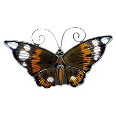 Norway Sterling & Multicolored Enamel D-A Butterfly Pin