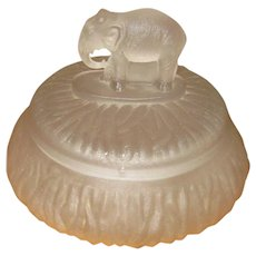 Frosted Crystal Depression-Era Vanity Jar with Elephant Finial