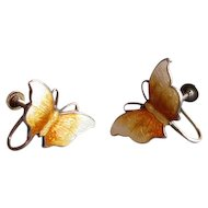 Scandinavian Silver and Yellow Enamel Butterfly Earrings