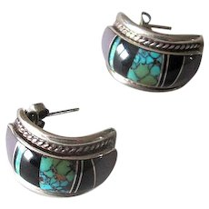 Sterling Silver Native American Inlaid Pierced Earrings