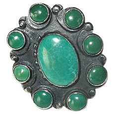 Sterling Silver Native American Navaho Ring with Green Turquoise