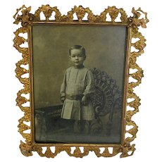 Antique Fancy Brass Tabletop Picture Frame